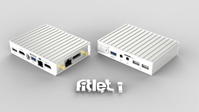 fitlet-iA10 Barebone, AMD A10 Micro-6700T SoC, 64-bit quad core 1.2Ghz (2.2Ghz boost), , 1x SO-DIMM 204-pin DDR3L, 1x mSATA 6Gbps, 1xeSata, 2xHDMI, Audio I/O, 2x1GbE LAN, Wlan/BT, 2xUSB3.0, 4xUSB2.0,